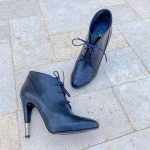 Chanel Leather Lace Up Heeled Booties Black 38.5